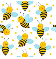bee seamles pattern cute flying bees for honey vector image