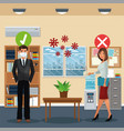 business couple working and wearing medical mask vector image vector image