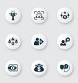 business management icons set with investor vector image