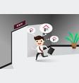 businessman running exit door sign he get off vector image vector image