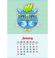 Calendar 2017 with cats January In cartoon 80s vector image vector image