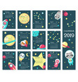 calendar 2019 template with space animals vector image vector image