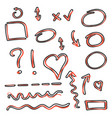 cartoon hand drawn arrows and circles icon set in vector image