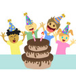 cartoon kids happy birthday party vector image vector image