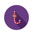 Christmas Candy Stick Flat Icon with Bow vector image vector image