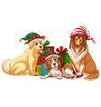 Christmas theme with dogs and present boxes vector image vector image
