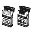 cigarettes open pack with warning inscription vector image