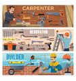 construction worker banners builders carpenter vector image