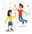 couple dancing party confetti celebration vector image vector image