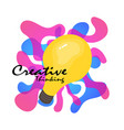 creative light blub with color splash creative vector image