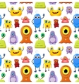 Crowd of cute monsters different colours on white vector image vector image