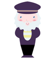Cute Sailor captain isolated on white vector image vector image