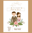cute wedding couple for wedding invitations card vector image
