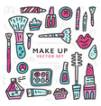 doodle of girlish cosmetics vector image vector image