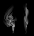Gray smoke isolated on black background vector image vector image