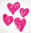 grunge hearts on white background vector image vector image