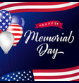 happy memorial day lettering usa balloons vector image vector image