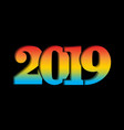 happy new year card 3d number 2019 with rainbow vector image