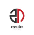 initial letter zn creative elegant circle logo vector image vector image