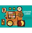 Japanese cuisine seafood dishes with hot pot icon vector image vector image