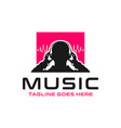 logo listening to music with a headset vector image