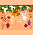 merry christmas tree ornament greeting card vector image