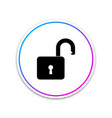 open padlock icon on white background lock symbol vector image
