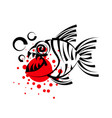 piranha isolated on white background vector image vector image