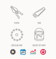 pliers circular saw and bucket of paint icons