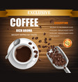 poster with cup of coffee package design vector image vector image