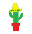 potted cactus and mexican hat decoration vector image vector image
