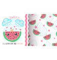princess watermelom fruit - seamless pattern vector image vector image