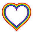 rainbow pride flag lgbt movement in heart shape vector image vector image