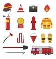set firefighter safety flat icons vector image vector image