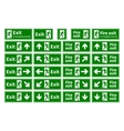 Set of emergency fire exit green signs with vector image vector image