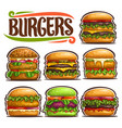 set of fresh burgers vector image