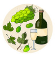 set of hand drawn elements bottle with white wine vector image