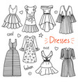 set of hand drawn women clothes dresses vector image vector image
