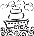 ship on waves in sea with clouds vector image