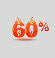 sixty percent discount numbers on fire vector image vector image