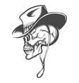 skull in a cowboy hat vector image vector image