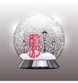 snow globe with a red telephone booth and lantern vector image vector image