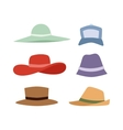 Summer hats collection set vector image vector image