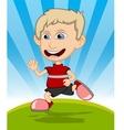 The boy running and laughing cartoon vector image vector image