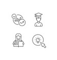 woman hold book charts and idea icons vector image vector image
