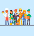flat professional worker icon set vector image