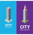 real estate logo isometric office tower vector image