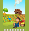 a farmer harvest vegetable vector image vector image