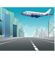 Airplane flying over the city vector image