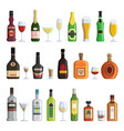 alcoholic bottles and glasses in vector image vector image